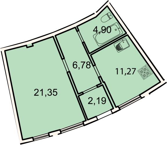 1-к.кв, 46.5 м²
