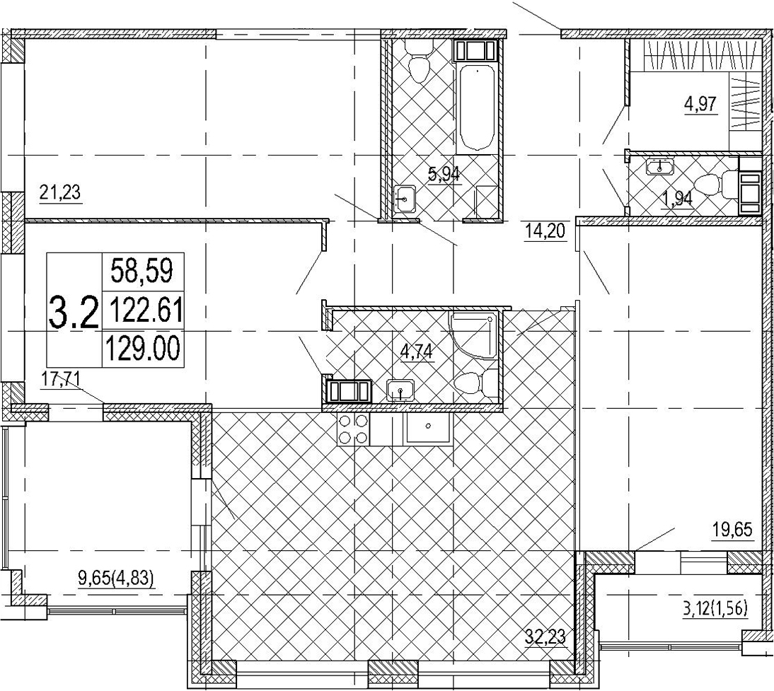 4Е-комнатная, 129 м²– 2
