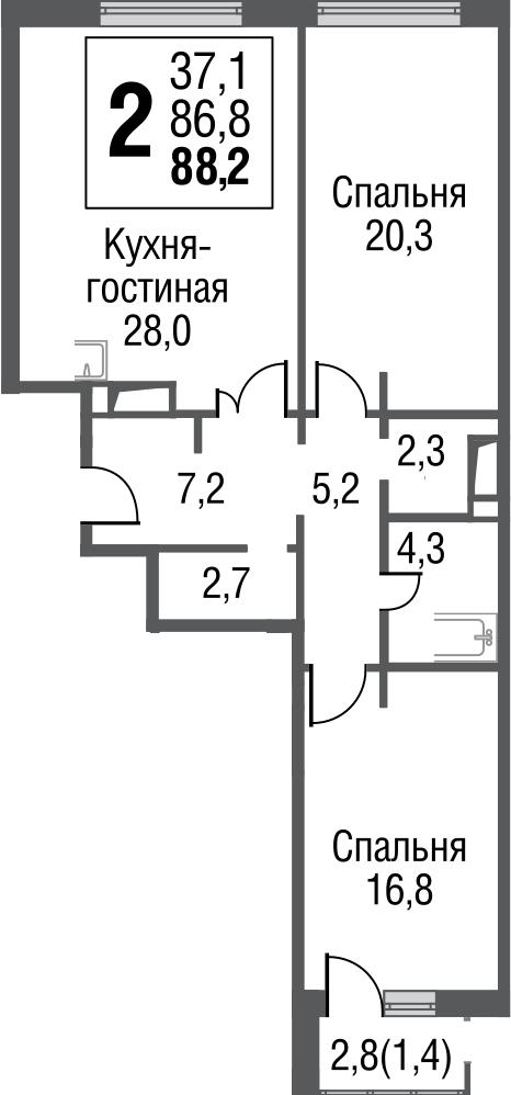 3Е-к.кв, 88 м²