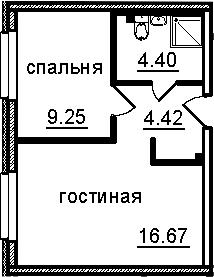 2-к.кв (евро), 34.74 м²