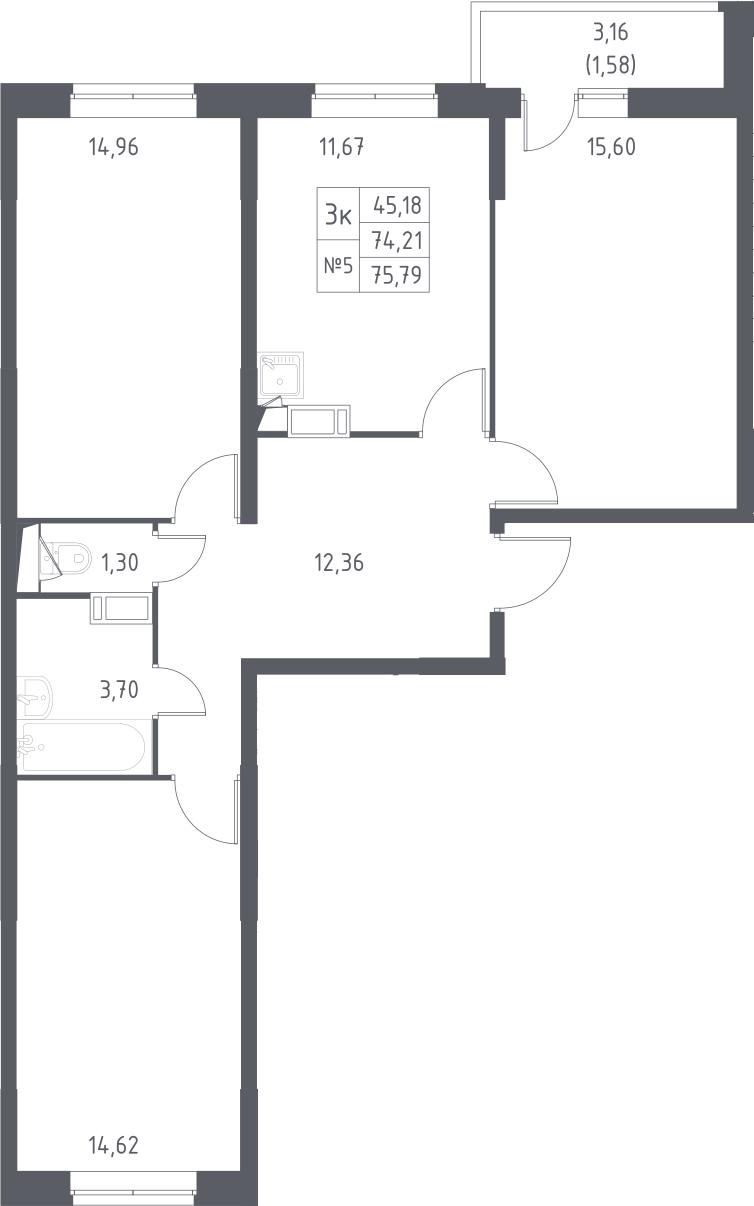 3-комнатная, 75.79 м²– 2