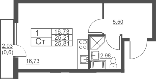 Студия, 25.81 м²– 2