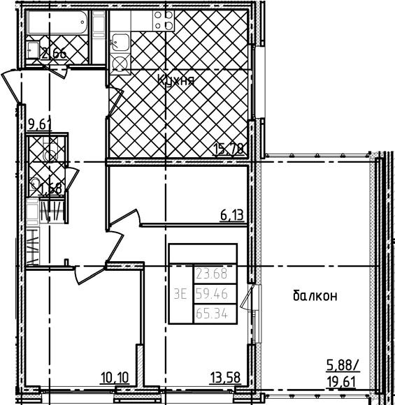 3Е-к.кв, 65.34 м²