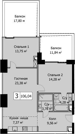3Е-комнатная, 106.06 м²– 2
