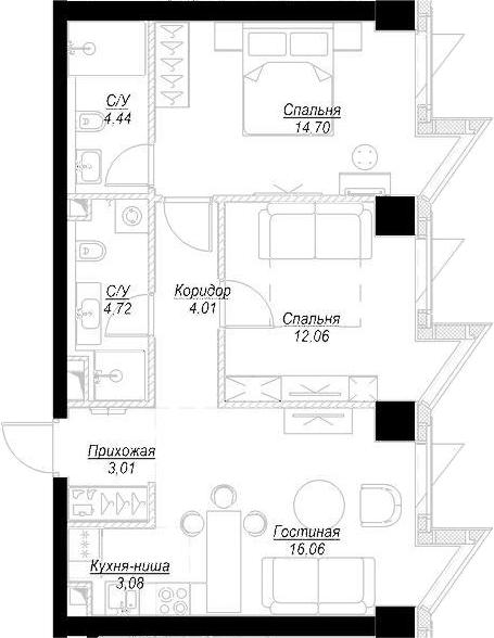 3Е-комнатная, 62.07 м²– 2
