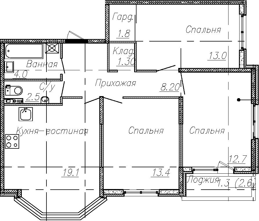 4Е-к.кв, 76 м²