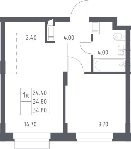 2Е-к.кв, 34.8 м², 11 этаж