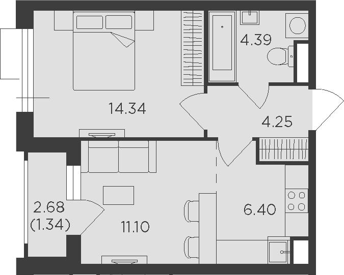 2-к.кв (евро), 43.16 м²