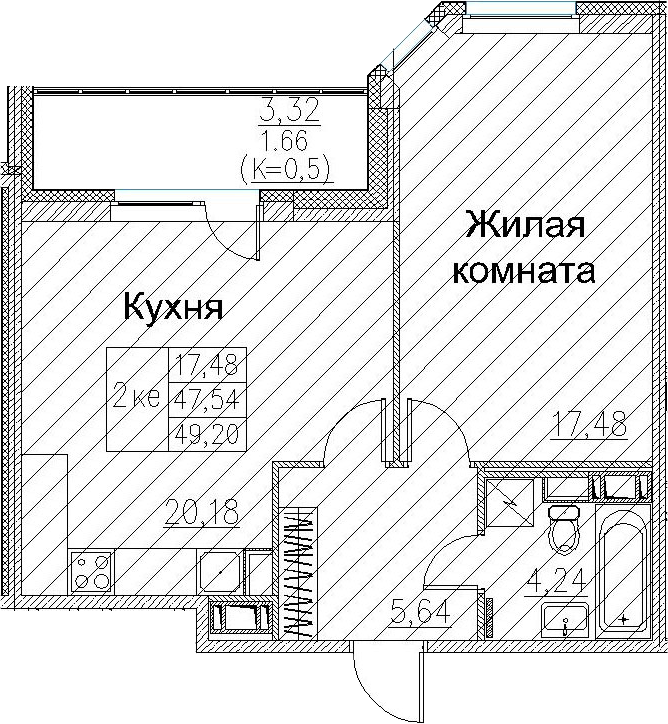 2Е-к.кв, 49.2 м²