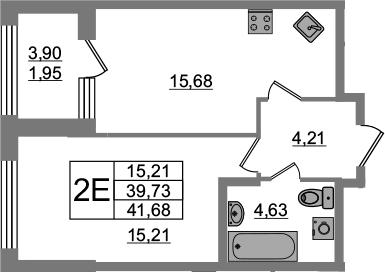 2Е-комнатная, 39.73 м²– 2