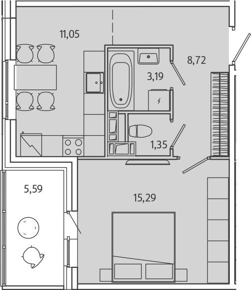 1-комнатная, 42.4 м²– 2