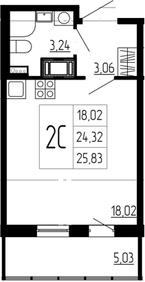 Студия, 24.32 м²– 2