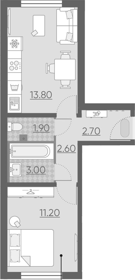 2Е-к.кв, 35.2 м², 1 этаж