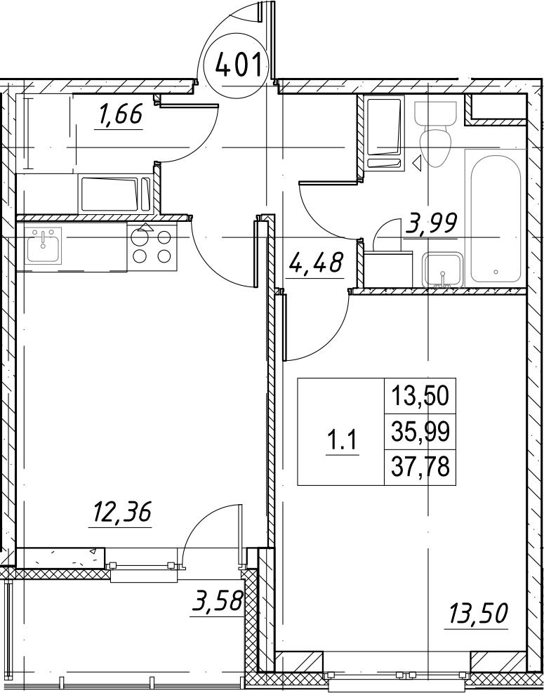 1-комнатная, 37.78 м²– 2