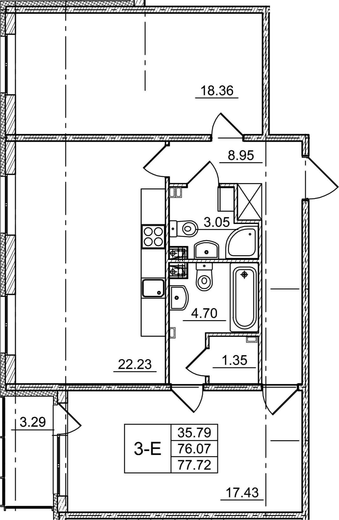 3Е-комнатная, 76.07 м²– 2