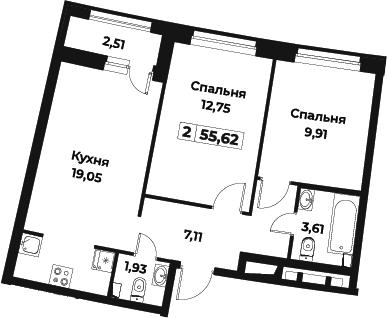 3Е-к.кв, 55.62 м²