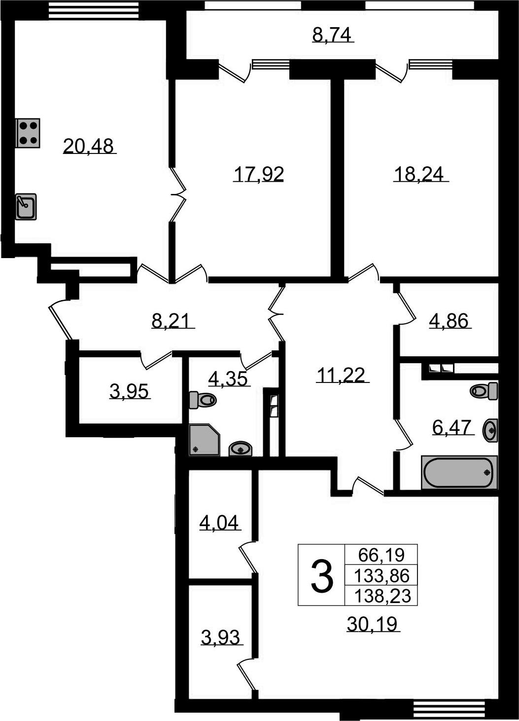 3-комнатная квартира, 138.23 м², 4 этаж – Планировка