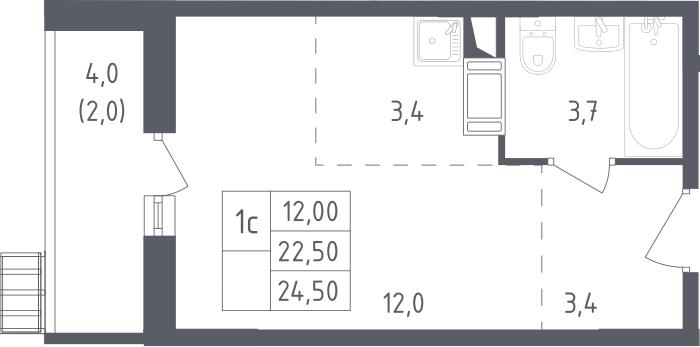 Студия, 24.5 м², 3 этаж