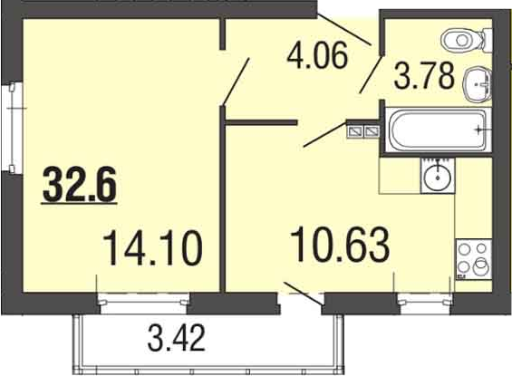 1-к.кв, 32.5 м²