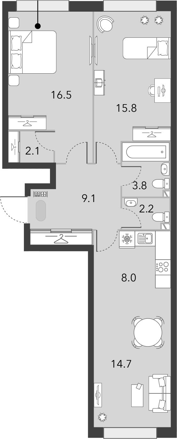 3Е-комнатная, 72.2 м²– 2
