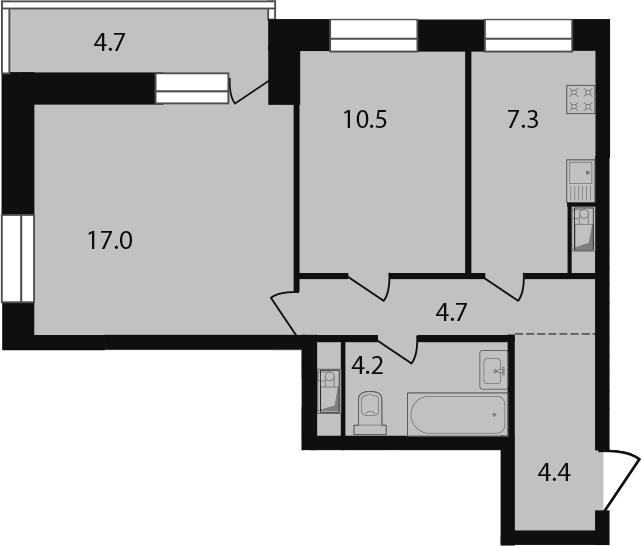 2-к.кв, 52.8 м²