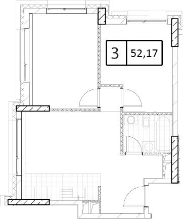 Своб. план., 52.17 м²