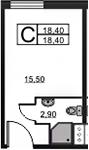 Студия, 18.4 м²– 2