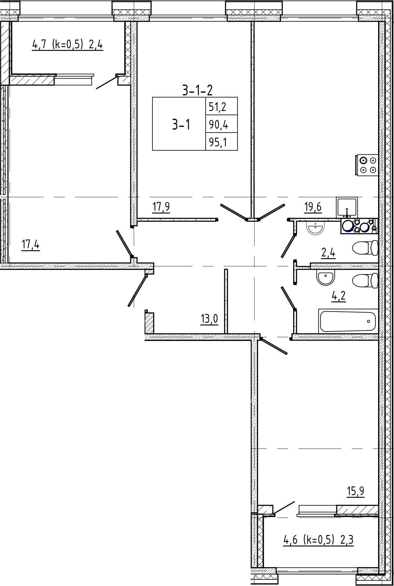 4Е-к.кв, 95.1 м², 1 этаж