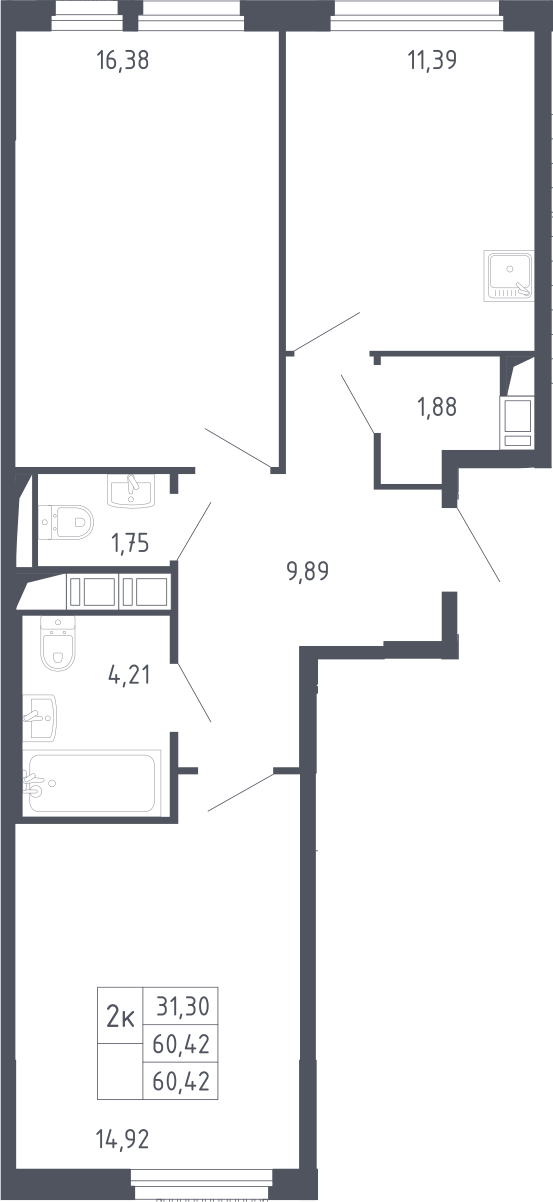 2-комнатная, 60.42 м²– 2