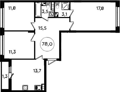 3-к.кв, 79.3 м²