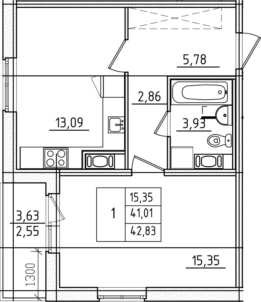 1-комнатная, 42.83 м²– 2