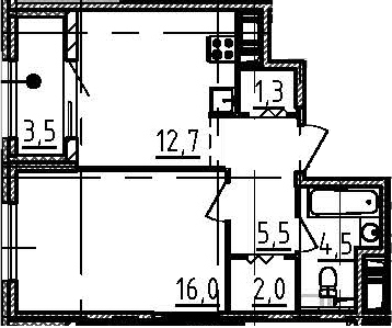 1-комнатная квартира, 43.8 м², 2 этаж – Планировка