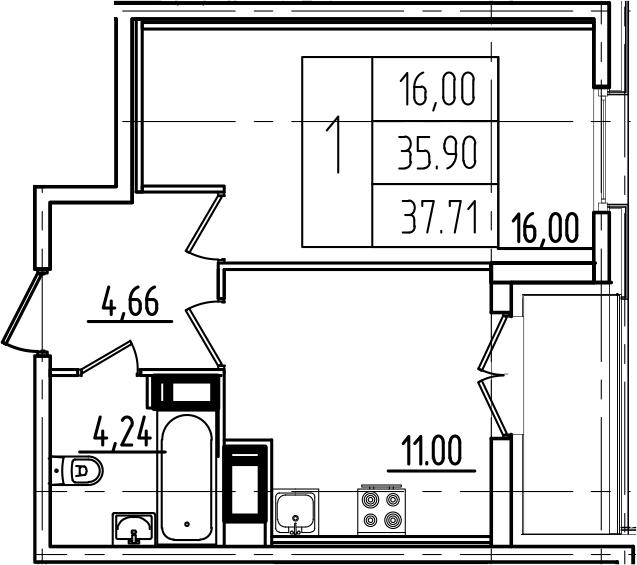 1-к.кв, 37.71 м²