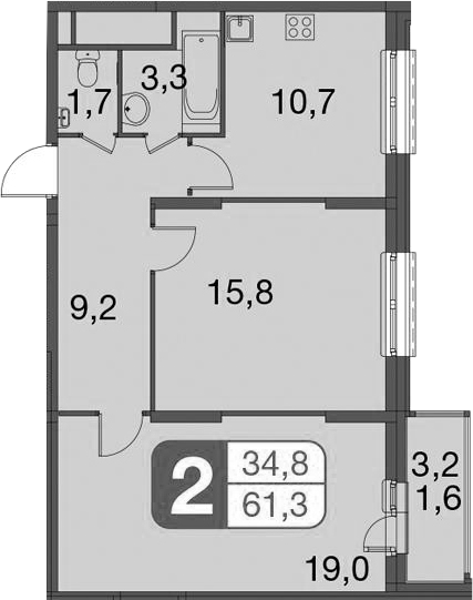 2-комнатная, 61.3 м²– 2