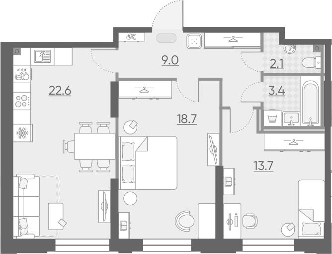 3Е-к.кв, 69.5 м², 2 этаж