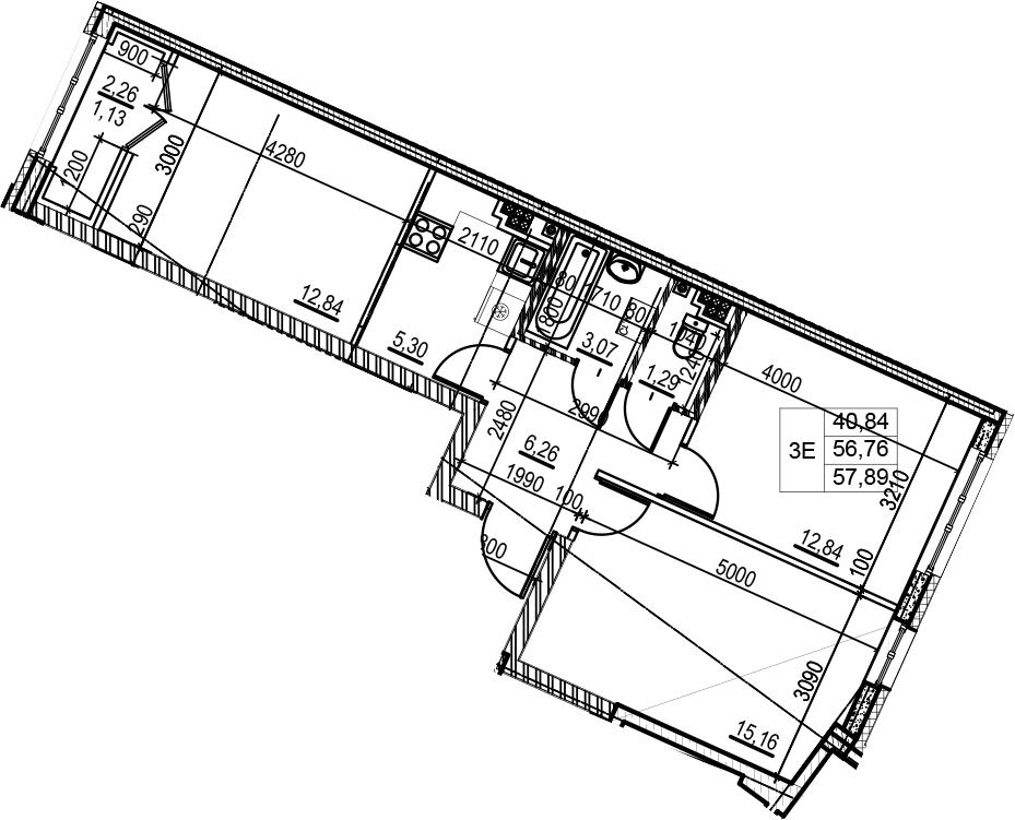 3Е-комнатная, 57.89 м²– 2