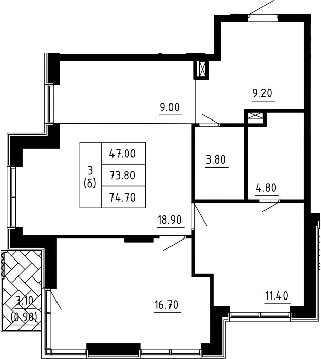 3Е-к.кв, 74.7 м², 2 этаж