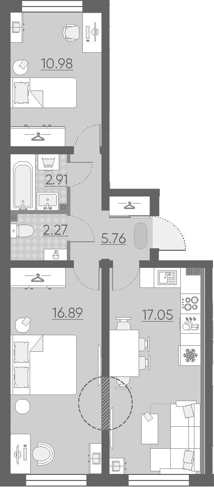 3Е-комнатная, 55.86 м²– 2