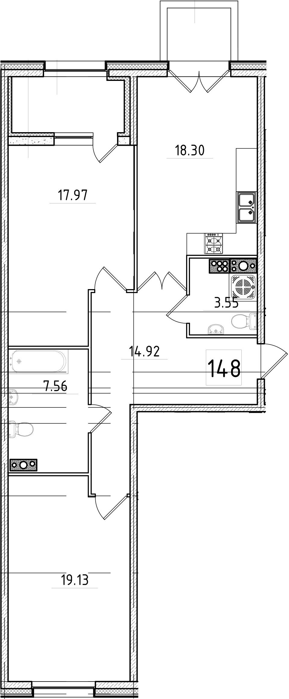 3Е-комнатная, 84.72 м²– 2