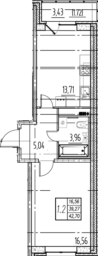 1-комнатная квартира, 39.27 м², 15 этаж – Планировка