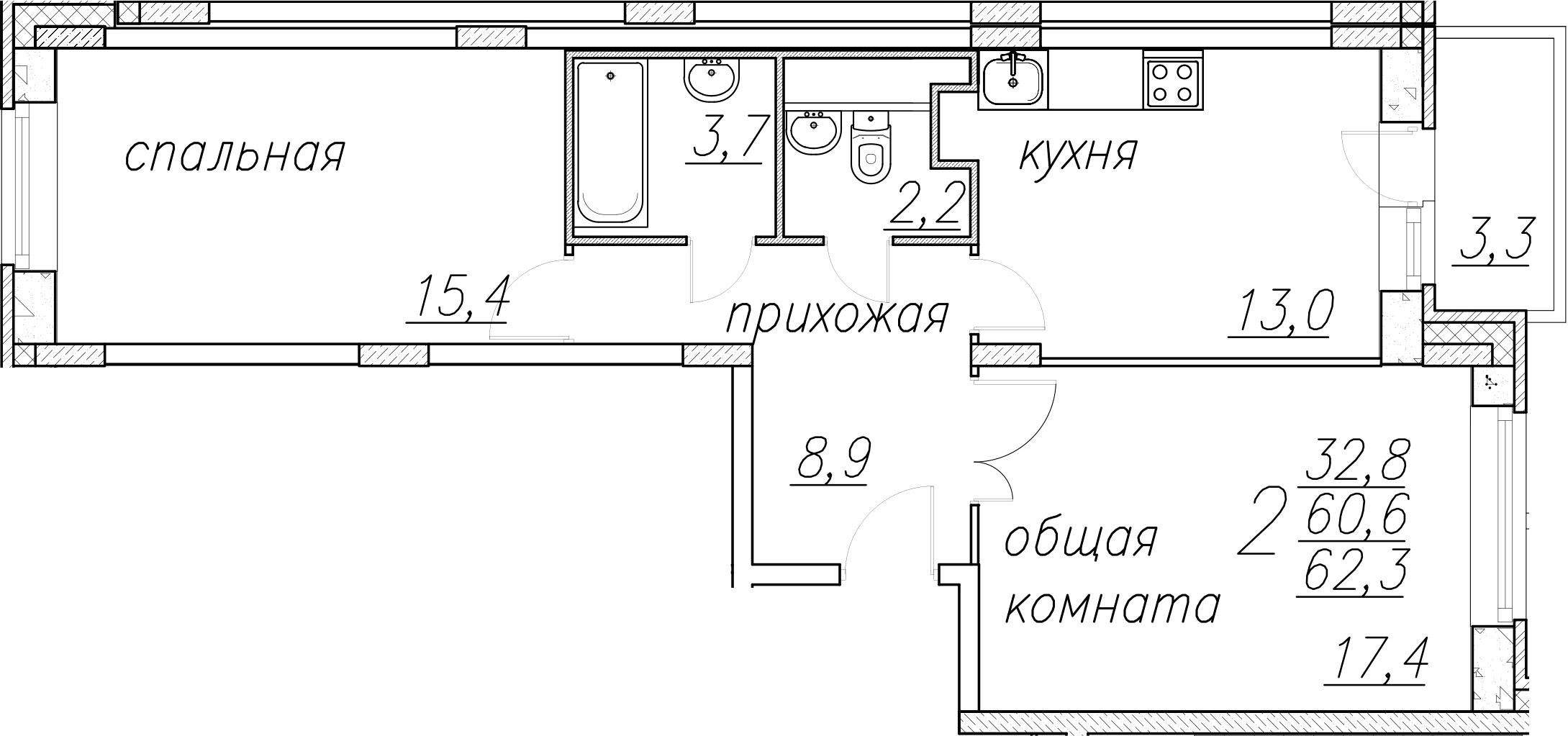 2-комнатная, 62.3 м²– 2