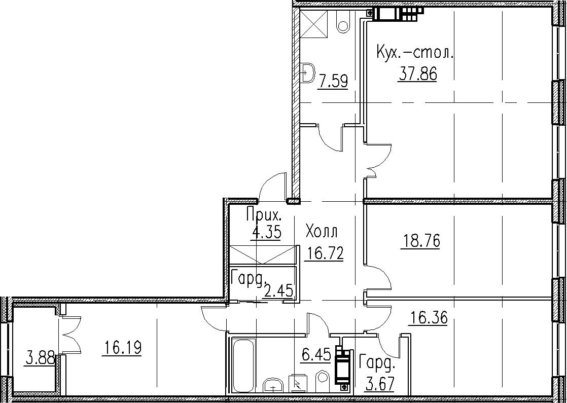 4Е-к.кв, 130.4 м², 8 этаж