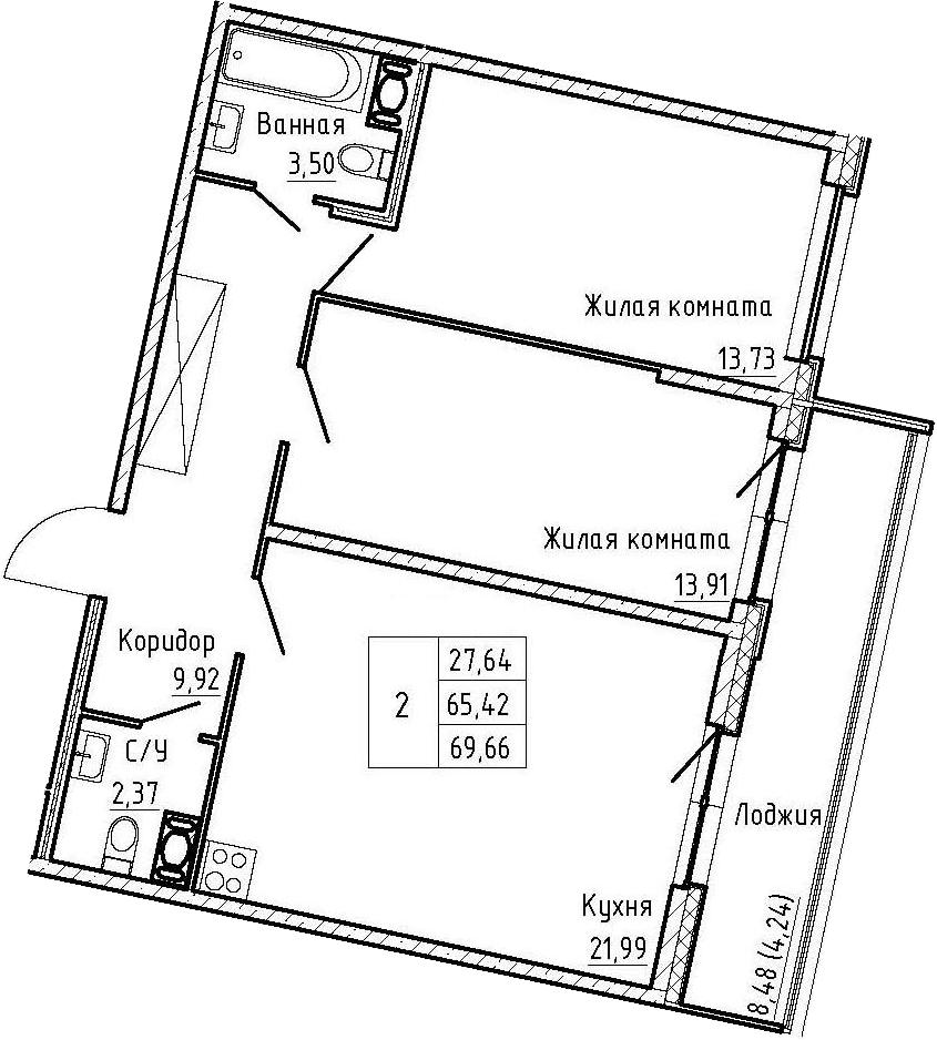 3Е-к.кв, 69.66 м², от 4 этажа