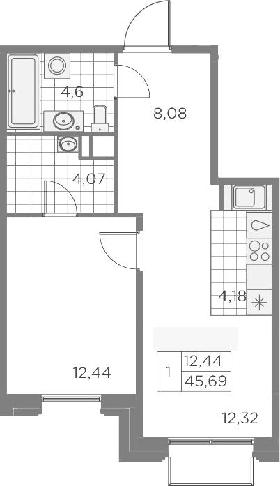 2Е-к.кв, 45.69 м², 8 этаж