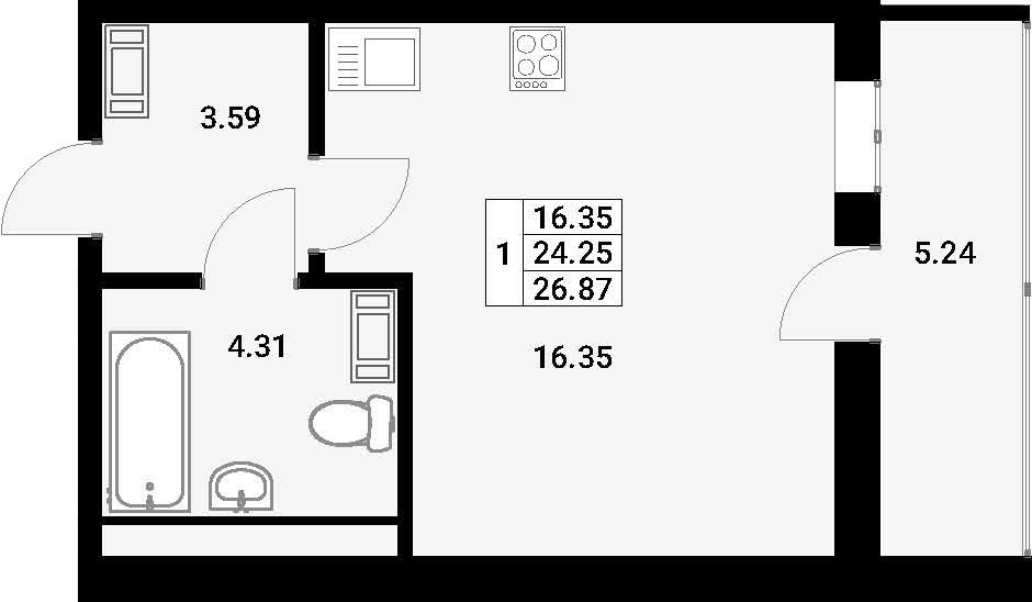Студия, 29.49 м²