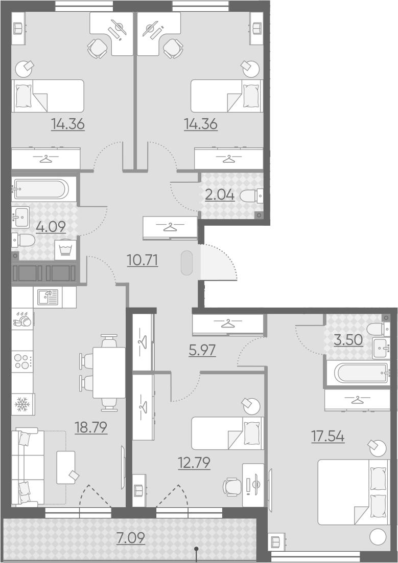 5Е-комнатная, 107.7 м²– 2