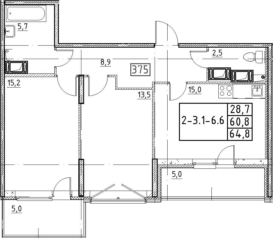 3Е-к.кв, 64.8 м², 3 этаж