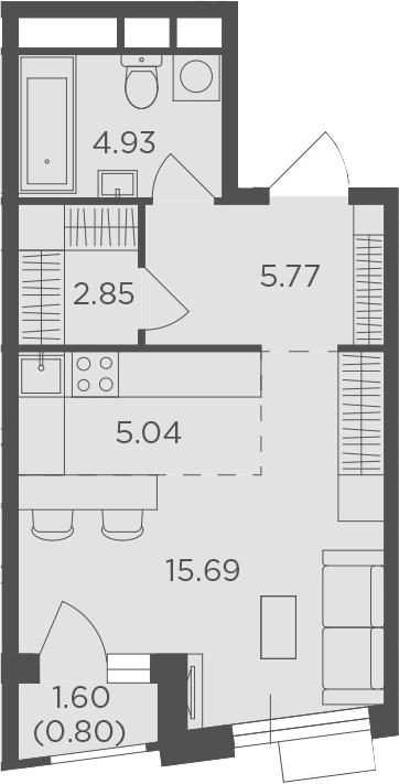 Студия, 35.08 м²– 2