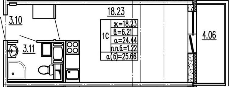Студия, 24.44 м², 4 этаж