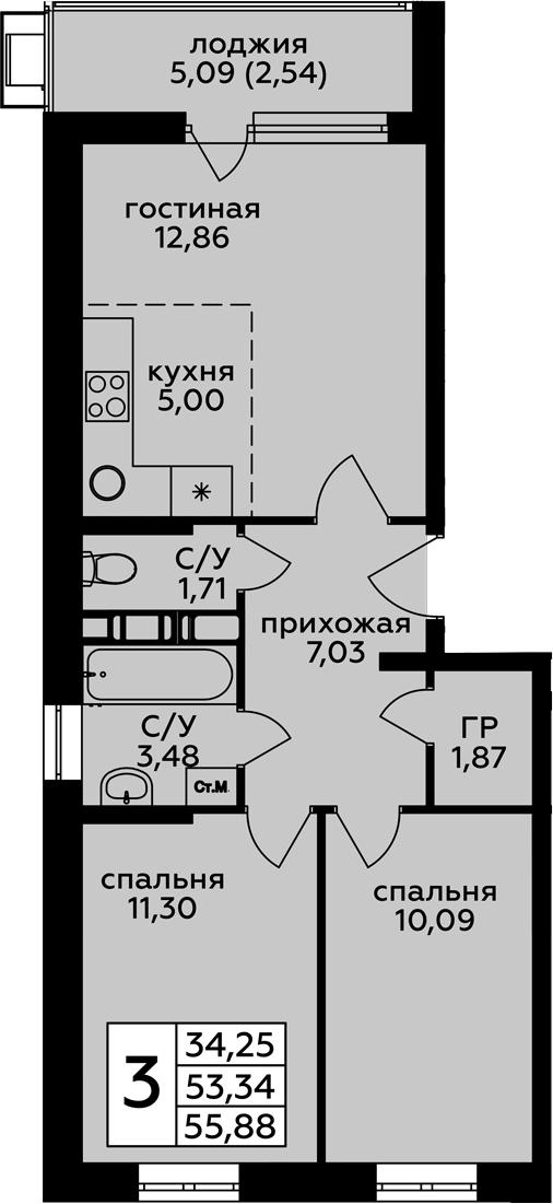 3-к.кв (евро), 58.42 м²